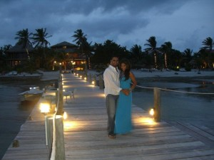 Rachel and Devang on our dock for their special dinner @ Portofino Beach Resort
